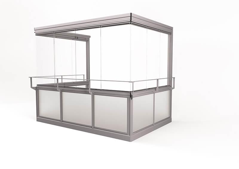 Vision® Air Glasinddækningssystem – uden ramme, uden hjørnestolper, med håndlister